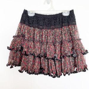 Rachael & Chloe Floral Ruffle Mini Skirt